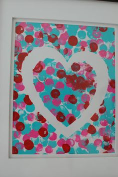 Valentine's Day Art Projects - use dot paints to decorate, paint white heart on top after it dries