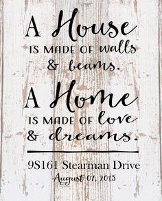 Custom Home Sign A Home Love and Dreams Address Date Wood Sign Canvas Housewarming Hostess Wedding Realtor, Christmas Gift