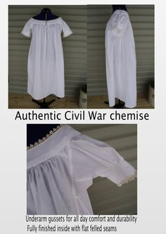 Civil War authentic chemise custom made under corset shirt old-fashioned pirate blouse Steampunk Victorian lingerie--MADE TO ORDER