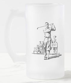 Golfer's 16 oz Frosted Glass Mug.  One for the golfer's beverage of choice! Vintage 1932 golfing illustration. Available in 10-ounce or 16-ounce https://www.zazzle.com/golfers16_oz_frosted_glass_mug-168734837966497602 #golf #mug #beer #sports #gift