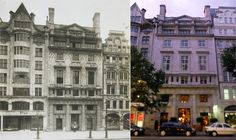 """The headquarters of the Women's Social and Political Union in Kingsway, London, in 1912 and today ( Edwin Lutyens, Wrought Iron Staircase, Banisters, Atrium, Great View, Wood Paneling, Restoration, Multi Story Building, Politics"