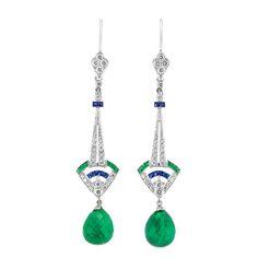 Pair of Platinum, Diamond, Sapphire, Emerald and Emerald Briolette Pendant-Earrings  2 drop-shaped emerald briolettes ap. 9.85 cts., diamonds ap. .65 ct. Art Deco or Art Deco style.