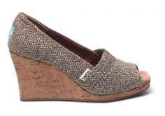 TOMS Brown Metallic Herringbone Women's Wedges. With every pair you purchase, TOMS will give a pair of new shoes to a child in need.