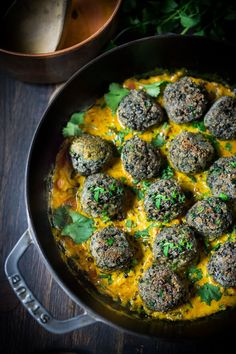 Vegan Lentil Meatballs with Coconut Curry Sauce- a delicious healthy meal infused with fragrant Indian spices. Vegan and Gluten Free!
