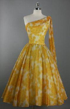 RESERVED Vintage 1950s 50s Elegant Fred PERLBERG One Shoulder Chiffon Scarf…