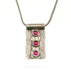 Ruby pendant in PMC three stone oxidized jewelry by GSStudioworks, $65.00