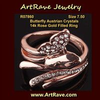Size 7.50 Butterfly Austrian Crystals 14k Rose Gold Filled Ring