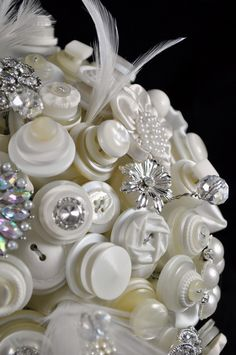 i adore this bouquet! So unique! Buttons And Bling!