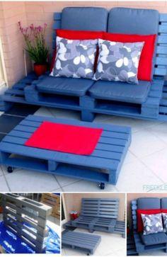 Salon de jardin en palettes en bois photos bricolage et for Divan palette