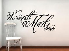 Amazon.com: Alice In Wonderland We're All Mad Here Vinyl Wall Decal Cheshire Cat: Home & Kitchen
