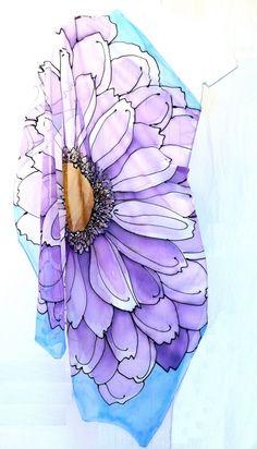 Square SIlk Scarf Hand painted Spring by SilkCouturebyTakuyo