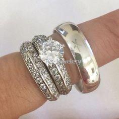 Princess Cut Diamond Wedding Bridal Ring Set Yellow Gold Finish Engagement Ring #tvsjewelery #EngagementAnniversaryWeddingRingSet