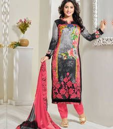 Buy Multi color georgette and satin embroidered semi stitiched salwar with dupatta party-wear-salwar-kameez online