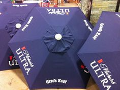 Summer is coming soon, and our clients are getting ready by having us screen print logos on big patio umbrellas.  Get made in the shade with Visual Impressions!  www.visualimp.com