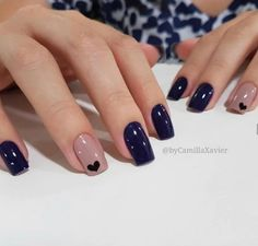 Ideas For Nails Blue Nailart Manicures Stylish Nails, Trendy Nails, Elegant Nails, Perfect Nails, Gorgeous Nails, Pink Nails, My Nails, Heart Nails, Navy Blue Nails