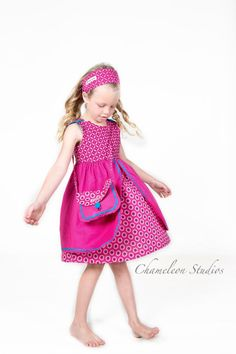 Girls Pink African Print Dress  Jabula by JenniDezignsClothing