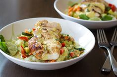 "Thai Green Curry Chicken & Cauliflower ""Rice"" Bowls 
