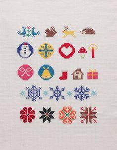 色とりどりの糸を使って、にぎやかに仕上げたいときにおすすめのカラフルな図案を集めました。/クロスステッチで彩るクリスマス(はんど&はあと12月号)