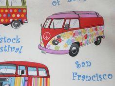 Stoff Tiermotive - 0,5 m Stoff  Bus Hippie Sixties Kanvas - ein Designerstück von Frau_Antje_Stoffe_Holland bei DaWanda