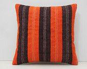 18x18 handwoven orange throw pillow orange stripe pillow orange pillow cover orange pillow case orange cushion cover kilim pillow sham 14314