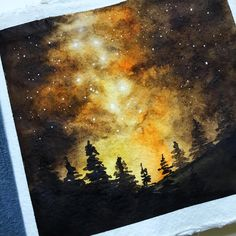 Painting a Watercolor Galaxy Sky Watercolor Night Sky, Night Sky Painting, Watercolor Galaxy, Watercolor Bird, Painting & Drawing, Watercolor Paintings, Watercolor Scenery, Watercolor Artists, Watercolor Portraits