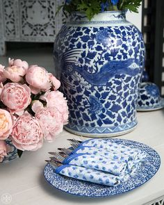 Cool blue: Set the table with Tory Burch Home