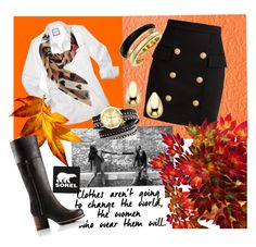 """""""Kick Up the Leaves (Stylishly) With SOREL: CONTEST ENTRY"""" by ahapplet ❤ liked on Polyvore featuring SOREL, Balmain, Michael Kors, Burberry and sorelstyle"""