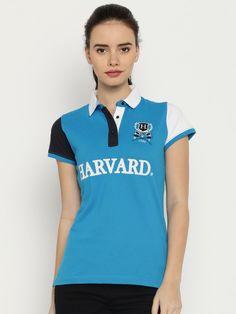5251c61cd Buy Harvard Women Blue Solid Polo T Shirt - Tshirts for Women