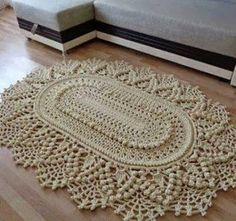 Crochet rug crochet carpet doily lace rug by eMDesignBoutique Crochet Doily Rug, Crochet Carpet, Crochet Doily Patterns, Crochet Home, Crochet Designs, Crochet Stitches, Knit Crochet, Crochet Videos, Home And Deco