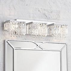 "Possini Euro Design Crystal Strand 25 34"" Wide Bath Light Fascinating Crystal Vanity Lights For Bathroom Design Inspiration"