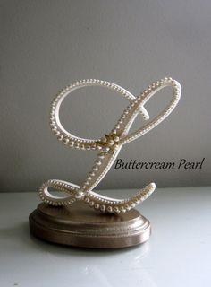 Wedding Cake Topper Keepsake Letter L Vintage by ButtercreamPearl