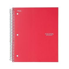 Five Star  Subject College Ruled Notebook ($5.69) ❤ liked on Polyvore featuring home, home decor, stationery, desk, notebooks, 11 anos escola ângela, filler and red