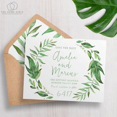 Printable Save The Date / Engagement / Wedding / Greenery / Garden / Wreath / Green / Leaves / Laurel / Custom / Download / Amelia