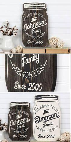 Farmhouse Style Rustic Wood Personalized Mason Jar. #ad Perfect gift idea for the farmhouse lover. Great wedding gift! #farmhousedecor #farmhousestyle #farmhouse #rustic #rusticdecor #personalized #personalizedgifts #giftideas #wood #homedecor