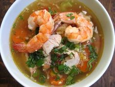Tonight I added Old Bay seasoned shrimp to homemade chicken and noodle soup (with some green onion and carrots added in)  here's another recipe