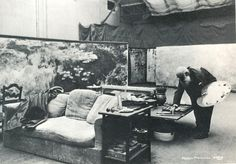Claude Monet in his third studio, surrounded by panels of his large Water Lilies series, 1920s. Photo by Henri Manuel, collection of the Mus...