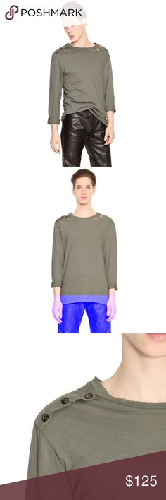 """Pierre Balmain Long Sleeve Distressed Military Tee Pierre Balmain Men's Green Long Sleeve Distressed Cotton T-Shirt.   Measurements are approximate. Chest 21"""". Shoulder 18"""". Length 27"""" Pierre Balmain Shirts Tees - Long Sleeve"""