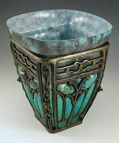 Louis Majorelle (1859-1926) & Daum - Vase. Glass with Wrought-Iron Mounts.
