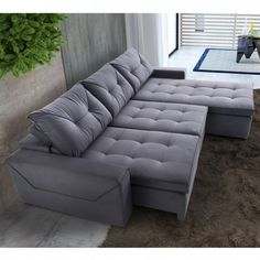About the product: '' 'Leave your room much more cozy and modern with the Reclining Sofa Sensualitte 4 Places! '' It has a structure of eucalyptus wood reforested with humidity control. Soft foam and elastic strands intended and interlaced with Bonnel Living Pequeños, Living Room Sofa, Apartment Living, Living Room Decor, Interior Design Living Room, Living Room Designs, Sala Grande, Comfy Sofa, Decoration Inspiration