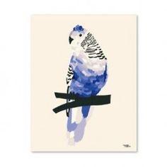 Print blå undulat, 30 x 40 cm - Super Carla