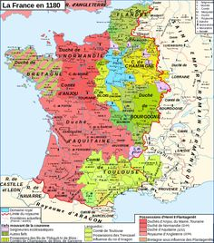 Map of France 1180 (France is in blue)