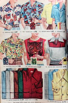 """1952 Hawaiian Inspired Shirts, upper left They were the ultimate in casual, pool or beach-side wear. Since pool parties or """"Tiki"""" parties were extremely popular house party themes it was the ideal shirt to wear in the summer. Rockabilly Moda, Rockabilly Fashion, Americana Vintage, 1950s Fashion Menswear, Vintage Outfits, Vintage Fashion, Mens Hawaiian Shirts, Bowling Shirts, Historical Clothing"""