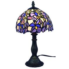 Amora Lighting Tiffany Style Iris (Purple) Table Lamp