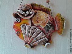 Подвески ручной работы. Ярмарка Мастеров - ручная работа. Купить Рыба с веером.. Handmade. Оранжевый, модница, глина, шнур