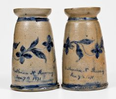 Exceptional Pair of Incised Stoneware Vases Made by Henry Remmey, Jr. for his wife, Catherine N. Remmey