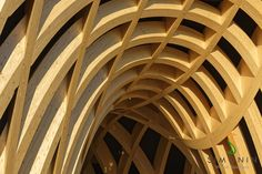 Simonin made these single and double curved wooden glulam spruce timber beams for the french pavilion in milano. The pavilion won the first price in the architecture contest of the fair