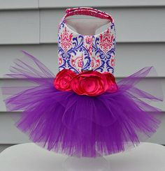 Pink and Purple Damask Tutu Harness Dog Dress by KOCouture on Etsy  Damask, wedding, dog clothes, dog harness, puppy, bridesmaid, pet photography, pet clothing, pet apparel, small dog, chihuahua clothes, yorkie clothes
