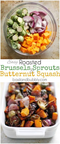Easy Maple Roasted Butternut Squash, Brussels Sprouts, and Red Onion is a great Healthy Thanksgiving Side Dish, or Vegan Main Meal Recipe! Sprout Recipes, Veggie Recipes, Vegetarian Recipes, Cooking Recipes, Healthy Recipes, Cheap Recipes, Red Onion Recipes, Roasted Vegetable Recipes, Fast Recipes