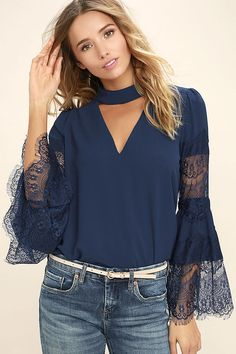 Pose for a selfie (or the paparazzi!) in your new Step and Repeat Navy Blue Lace Long Sleeve Top! Breezy blouse has a mock neck, and long bell sleeves with lace. Trendy Dresses, Nice Dresses, Dresses For Work, Modest Fashion, Fashion Outfits, Fashion Trends, Ladies Fashion, Blue Lace, Navy Blue