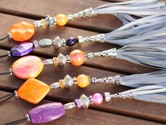 Your place to buy and sell all things handmade How To Make Ribbon, Beautiful Handbags, Handbag Accessories, Jewerly, Tassels, Sparkle, Beaded Bracelets, Elegant, Stylish